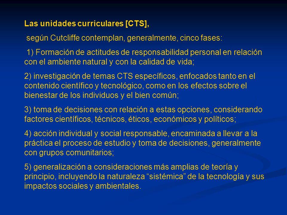 Las unidades curriculares [CTS],